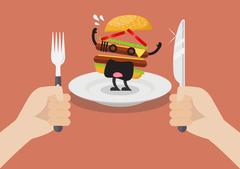Man prepare to eat scared burger Stock Illustration
