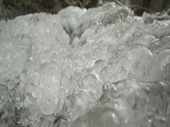 Beautiful and transparent ice to a waterfall in slow motion Stock Footage