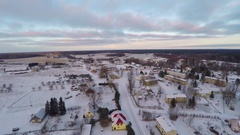 Winter landscape covered in snow at sunset.  Aerial footage. Stock Footage