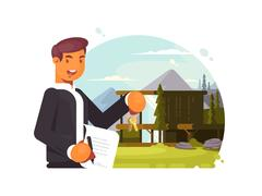 Successful realtor sells property Stock Illustration