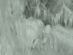 Frozen waterfall with ice formations Stock Footage
