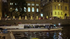 Editorial-The boat goes through the channel in center St.Petersburg,the riverbus Stock Footage
