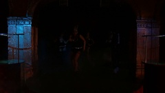 Dance group on stage in discolights Stock Footage