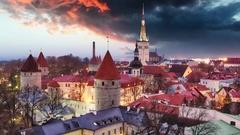 Tallinn city, Estonia at sunrise, Time lapse Stock Footage