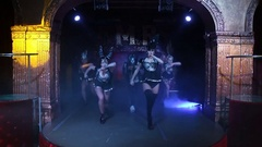 Group dancing in discolights Stock Footage