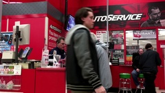 One side of auto service counter inside Canadian tire store with 4k resolution Stock Footage