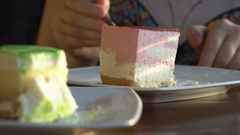 Delicious dessert with tea Stock Footage
