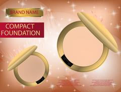 Glamorous compact foundation on the  sparkling effects backgroun Stock Illustration