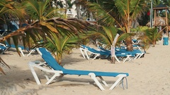Blue recliner on sandy beach under the palm trees on sunny yet windy day Stock Footage