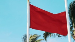 Red waving flag in front of palm trees under blue sky on windy day Stock Footage