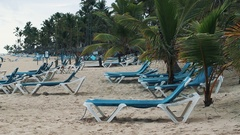 Guy in snapback put girl in blue swimsuit on recliner under palm tree at beach Stock Footage