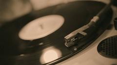 Turntable stylus closeup, retro music playing on vinyl record, sound equipment Stock Footage