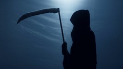 Death silhouette came to take terminally ill person, creepy Grim Reaper shadow Stock Footage