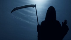 Inevitable Grim Reaper shadow looking at sinner from underworld, death anxiety Stock Footage