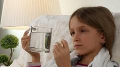 4K Sick Child, Suffering ill Girl Drinking Effervescent Vitamins, Sad Children Stock Footage