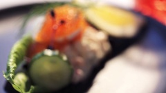Close up of toast skagen with caviar and bread Stock Footage