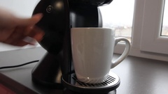 Close up coffee maker machine with white coffee cup Stock Footage