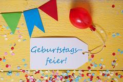 Party Label, Confetti, Balloon, Geburtstagsfeier Means Birthday Celebration Kuvituskuvat