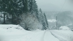 Country winter scenery. Blizzard Stock Footage