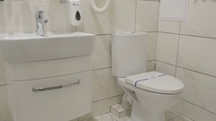 Luxury bathroom with toilet in a white color Stock Footage