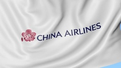 Waving flag of China Airlines against blue sky background, seamless loop Stock Footage