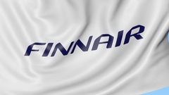Waving flag of Finnair against blue sky background, seamless loop. Editorial 4K Stock Footage