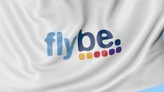 Waving flag of Flybe against blue sky background, seamless loop. Editorial 4K Stock Footage