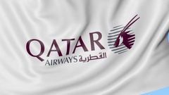 Waving flag of Qatar Airways against blue sky background, seamless loop Stock Footage