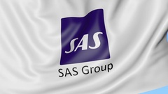 Waving flag of SAS Group against blue sky background, seamless loop. Editorial Stock Footage