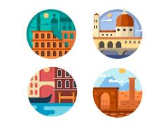 Italy set icon. Rome and Venice Piirros