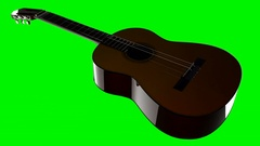 Classic guitar on green chromakey Stock Footage