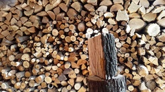 Preparing firewood,chopping wood with an ax.4k Stock Footage