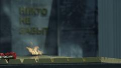 Macro Everlasting Flame at Memorial to War Heroes Stock Footage