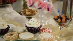 Dessert table on party Stock Footage
