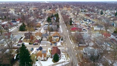Slow motion aerial flyover of small town America, classic architecture Stock Footage