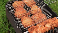 Cooking meat on the grill. Barbecue. B-B-Q. Stock Footage