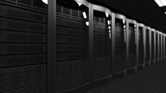 Server room dolly seamless loop 4K animation, shallow focus. Cloud technologies Stock Footage