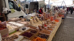 Turkish sweets nuts and dry fruits at the product market Stock Footage
