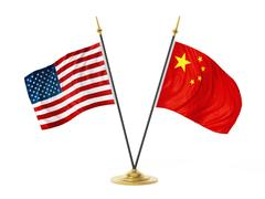 United States of America and China desktop flags. 3D illustration Stock Illustration