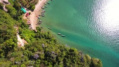 Paradise Beach with Thai Boats. HD slowmotion aerial view from above. Ao Nang Stock Footage