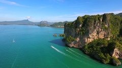Drone flying Behind the Mountain. Amazing Landscape View. Krabi, Thailand. HD Stock Footage
