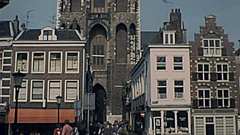 Utrecht 1977: people walk under the Dome Stock Footage