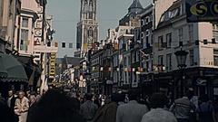 Utrecht 1977: people walk downtown Stock Footage
