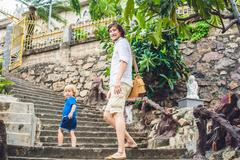 Father and son in the Beautiful stone Catholic Cathedral. Nha Trang Cathedr.. Kuvituskuvat