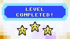 Level completed 8bit retro stars bg Stock Footage