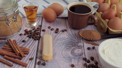 Ingredients for cooking traditional Italian dessert Tiramisu Stock Footage
