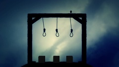 The Gallows Ready for an Execution with a Black Raven Stock Footage