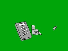 Calculator Coins   hand drawn   Green Screen   SD Stock Footage