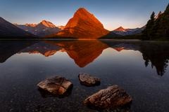 Scenic view, Swiftcurrent Lake, Glacier National Park, Montana, USA Stock Photos