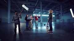 Setting gear for shoot film or interview Stock Footage